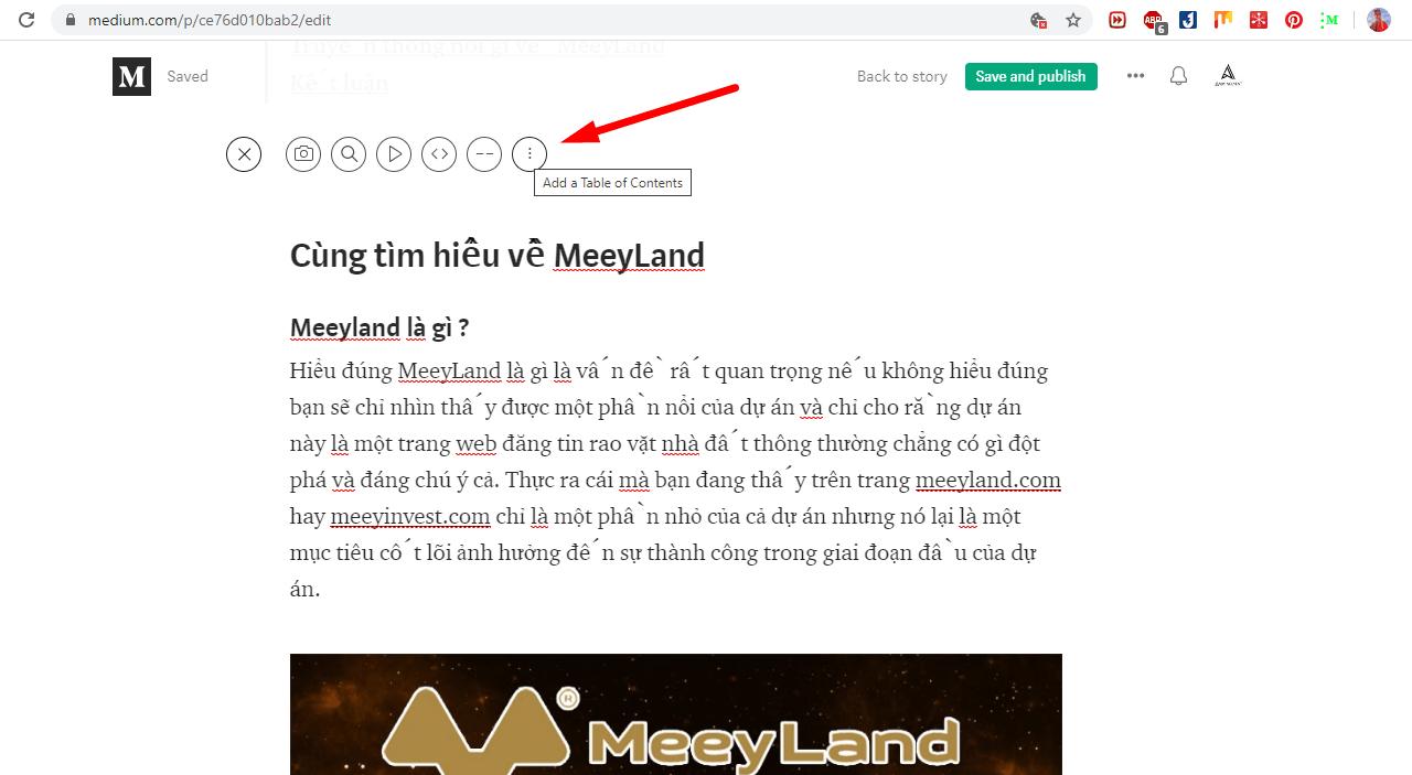 Hướng dẫn cách tạo mục lục bài viết trên medium